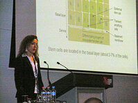 Cornelia Schurch, PhD, Mibelle, presented on plant cell cultures in cosmetics--specifically from a novel apple extract.