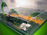 Beraca showed a model of one of its factories that processes açai in the Amazonian Rainforest.
