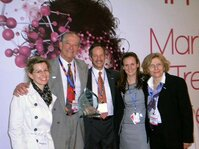Lipo Chemical won the In-Cosmetics' Innovation Zone Best Ingredient Award. Pictured are Lipo team members (from left): Helene Mahot; Stephen Greenberg, PhD; Christopher Humberstone; Fanny Vocanson; an