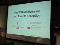 On April 14, 2010, In-Cosmetics held its 20th Anniversary and Awards Reception.