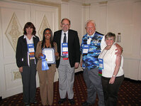 Rania Ibrahim, Best Poster Award winner, along with (from left) Debbie Pierce, DD Chemco; Randy Wickett, PhD; Gary Agisim, PhD; and Mindy Goldstein, PhD