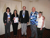 Rachna Gajjar, 4th place for Best Paper Award, with (from left) Debbie Pierce, DD Chemco; Randy Wickett, PhD; Gary Agisim, PhD; and Mindy Goldstein, PhD