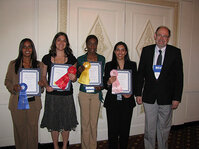 From left: Best Paper Award winners Rania Ibrahim, Jennifer Karr, Amber Evans and Rachna Gajjar with their professor from the University of Cincinnati, Randy Wickett, PhD.