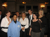 From left: Kelly Gilroy, Nalco; event server (lab coat from event sponsor, Nalco); Rem Reyls, Alberto Culver; Natalya Gurman, Alberto Culver; Shannon Tov, Alberto Culver;Tammy Gaffney, Nalco; Holly Fa