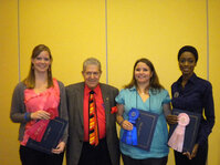 Don Katz of DD Chemco awarded the Best Poster Award to (from left) Laura Anderson, Michelle McCluskey and Amber Evans.