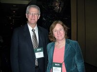 Craig Bonda (HallStar) and Martha Tate (Kimberly-Clark) enjoy the Supplier Cocktail Reception.