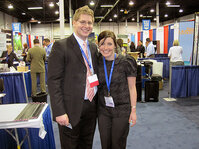 Michael Wright of Alberto Culver and Katie Schaefer of <em>C&T</em> magazine catch up at TeamWorks 2010.