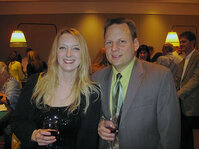 Rachel Grabenhofer of <em>C&T</em> magazine and Darrel Zehner of Rhodia chat at the MWSCC&rsquo;s Social Night.