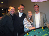 From left: Rhodia colleagues Jason O'Neill, Darius Derda, Rachelle Plonski and Tim Kenny enjoy a little blackjack.