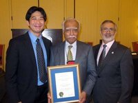 (From L): Brian Chung from Rhodia with Ram Ramaprasad, PhD, receiving the SCC Award sponsored by Rhodia Novecare, and 2012 SCC President Joseph Dallal