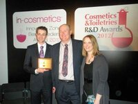 Philip Ludwig and Vince Gruber (Lonza), and Rachel Grabenhofer (<em>Cosmetics & Toiletries</em>)
