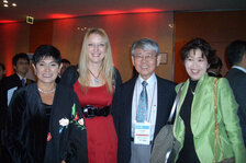 (from left) Maria Romero and Rachel Grabenhofer (Cosmetics & Toiletries magazine); T. Joseph Lin, PhD; and Mika Tanaka (POLA)