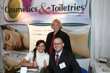 Lower level, left to right: Katie Schaefer, Cosmetics & Toiletries magazine and Jeff Falk, GCI magazine