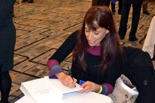 Nava Dayan, PhD, sat down at the Technology Showcase to sign copies of her new book, Applied Topically.