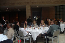 Attendees mingle over lunch.