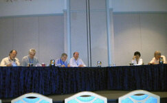 The roundtable at the 2011 FLSCC Sunscreen Symposium featured (from left): Dennis Lott (moderator); Mike Brown; Joe Stanfield; John Staton; Dominique Moyal, PhD; and Nadim Shaath, PhD. Not pictured: Reynold Tan, PhD, and Olga V. Dueva-Koganov, PhD