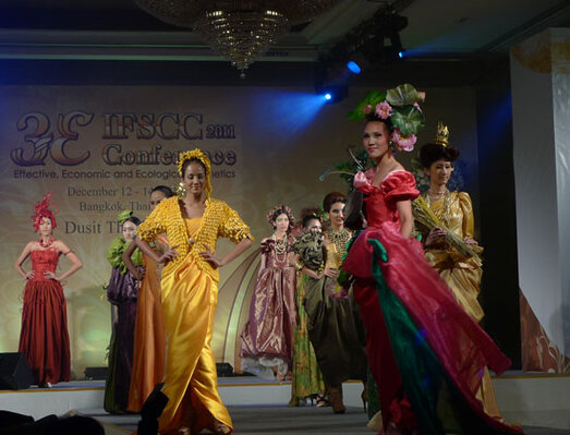 During the opening ceremony,  a fashion show featured designs  inspired by plants used as cosmetic actives.