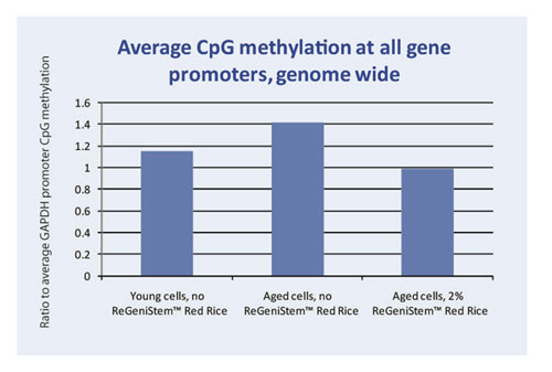 Average Global CpG methylation at the promoter region with ReGeniStem Red Rice treatment