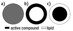 Figure 3. Models of actives incorporated in lipid nanoparticles, homogeneous matrix; a) type I SLNs, b) type II SLNs, and c) type III SLNs; modified from Reference 4.