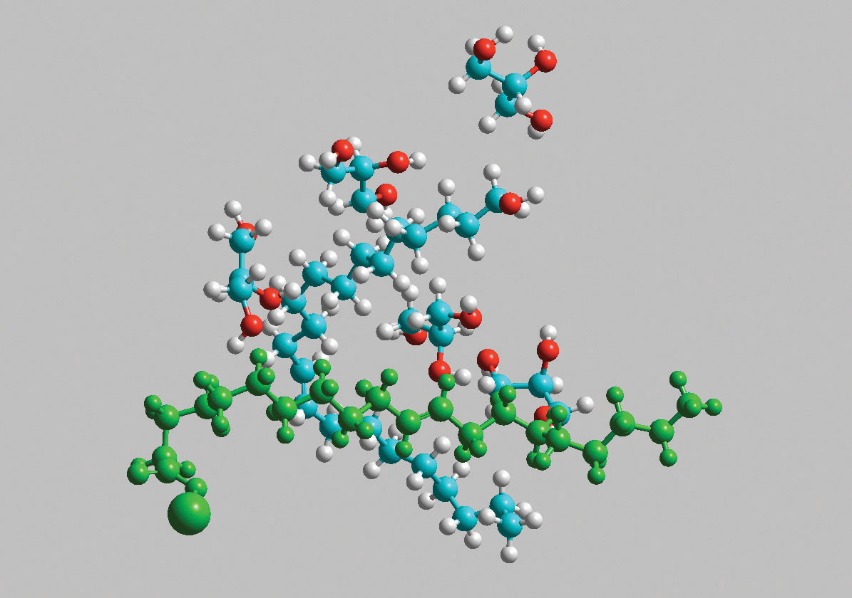 Figure 9. Highlighted (green) jojoba salt portion of hydrolyzed jojoba ester molecule; Note: Image produced using Hyperchem r.8 (Hypercube Inc., Gainesville, FL USA)