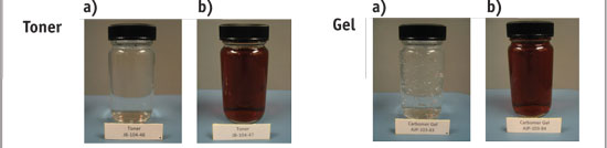 Figure 4. Test toner and gel formulas in 2-oz. samples a) without and b) with FM