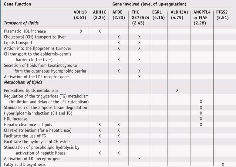 Table 1. Modulation by Polyglucuronic Acid of the Expression of Different and Specific Genes Involved in the Transport and the Metabolism of Lipids