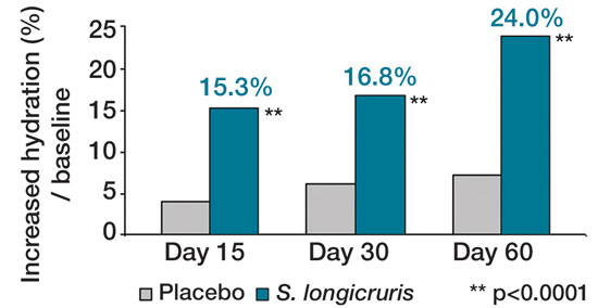 Figure 3. Clinical efficacy of S. longicruris on skin hydration level