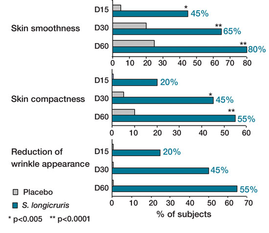 Figure 6. Dermatological evaluations of skin smoothness, compactness and wrinkle appearance