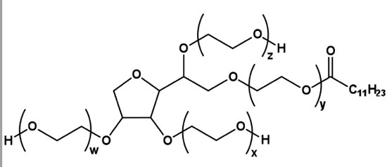 Figure 1. Idealized chemical structure of polysorbate 20, where the average value of w + x + y + z = 20