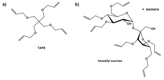 Figure 2. Examples of polyfunctional allyl ethers employed as crosslinkers  in carbomers, a) TAPE and b) hexaallyl sucrose