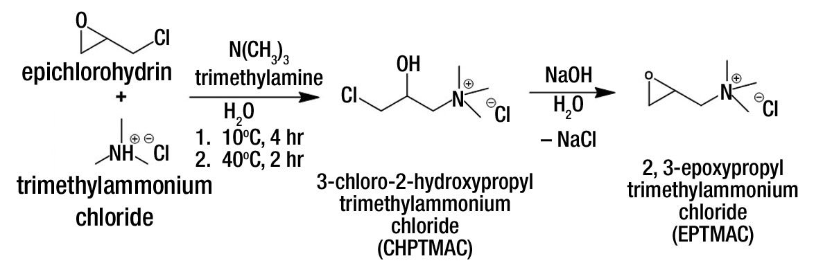 Figure 2. Synthesis of the cationizing reagents CHPTMAC and EPTMAC