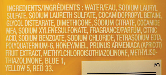 Ingredient label for Herbal Essences