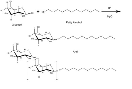 Figure 2. Synthesis of alkyl polyglucosides by acid catalyzed acetylation of glucose with fatty alcohol<sup>14</sup>