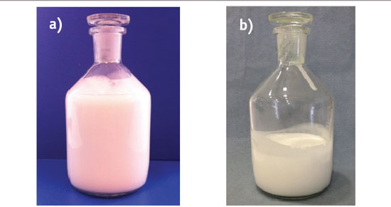 Figure 5. Comparison of a water-thin emulsion a) on the day of manufacture and b) four weeks later