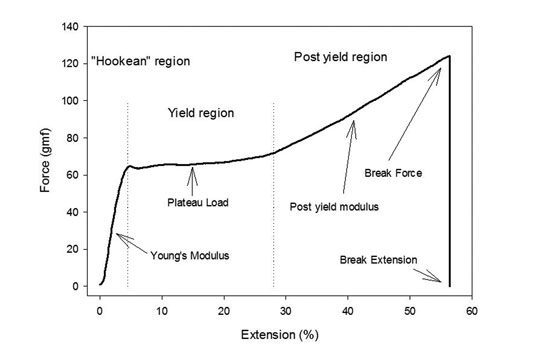 Figure 1. A typical stress-strain curve for a hair fiber as obtained from a constant rate extension experiment
