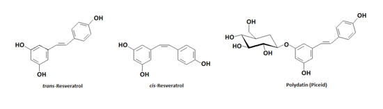 Figure 1. Resveratrol occurs naturally as <em>trans-</em> and <em>cis-</em> isomers, as well as a glucoside called polydatin or piceid.
