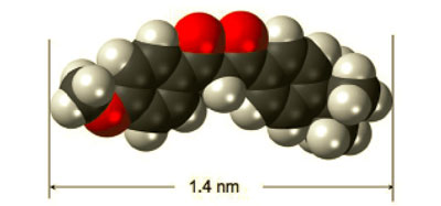 Figure 1. Model of avobenzone molecular nanoparticle; black, red and white spheres depict locations of carbon, oxygen and hydrogen atoms, respectively.