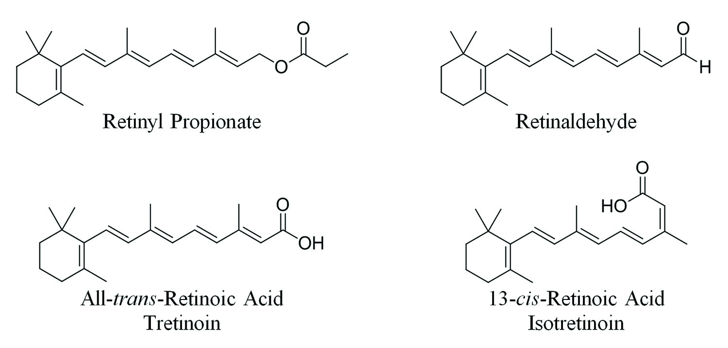 Figure 2. Various retinoids currently utilized in the treatment and prevention of certain cancers, skin aging and acne