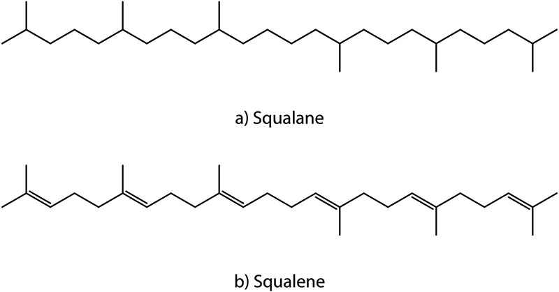 Figure 1. Chemical structures of squalane and squalene