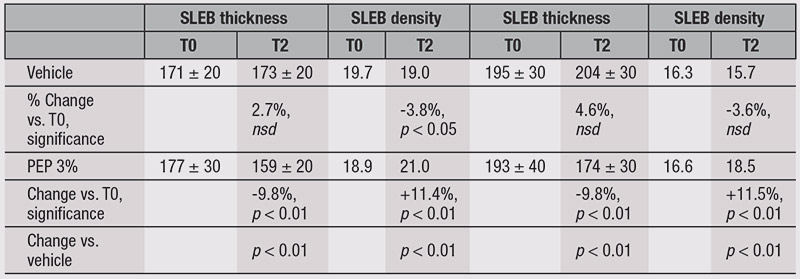 Table 3. Change in SLEB Thickness and Density