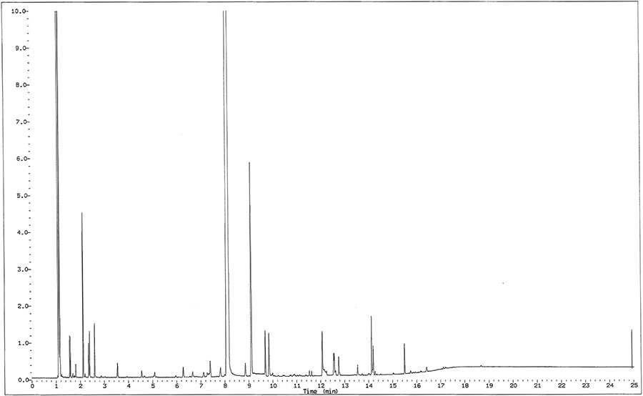 Figure 2. Gas chromatogram of aged, unstabilized ethylhexylglycerin