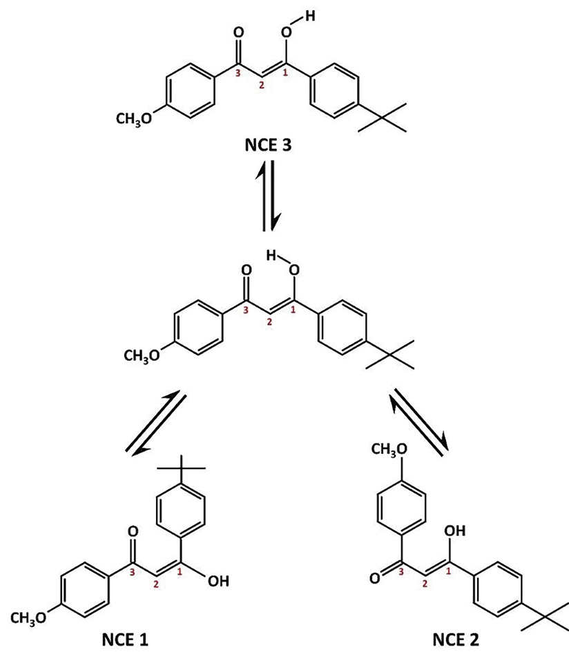 Figure 3. Possible structures formed upon photoexcitation of the enolic form of avobenzone