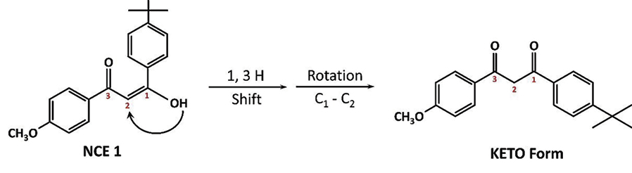 Figure 4. Transformation of the photoexcited enolic corm to the keto isomer