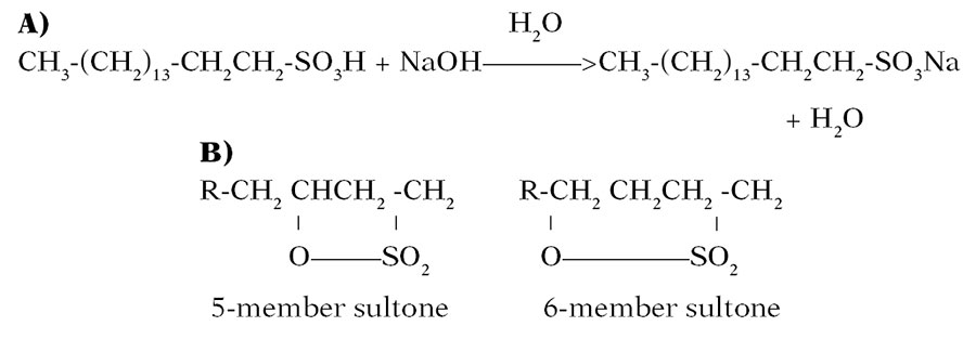 Figure 2. Sodium Alpha Olefin Neutralization (a) and Sultone Structures (b)