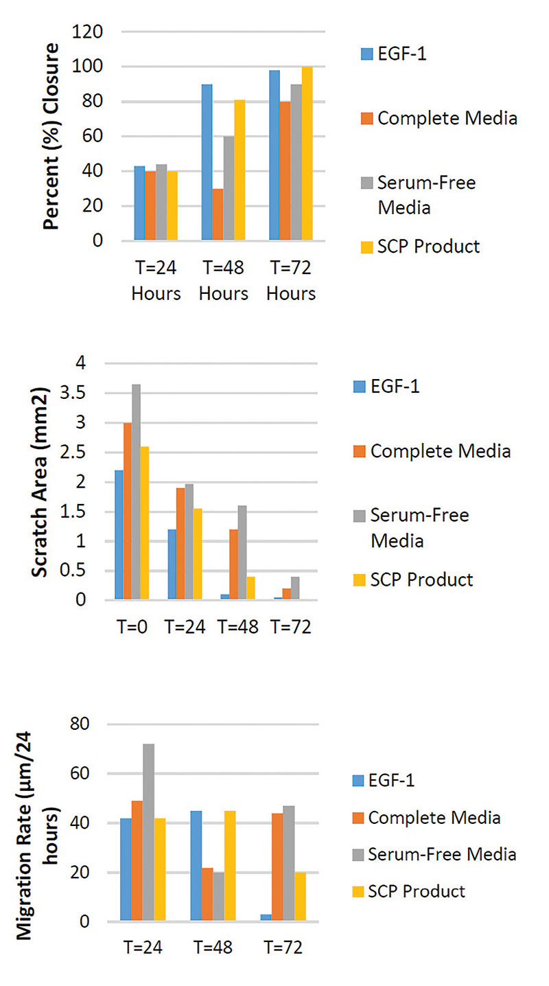 Figure 3. Would healing assay for algal SCP compared with: EGF-1 (100 mg/mL, positive control), complete media and serum-free media