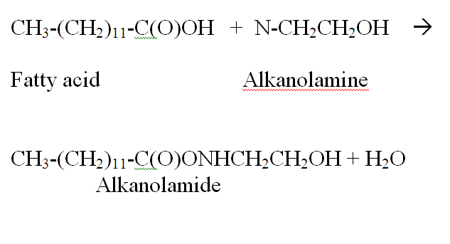 A specific example is of a reaction is MEA alkanolamide.