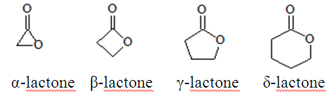 Lactones are classified as alpha, beta, gamma and delta based on the position of the OH group relative to the acid group.