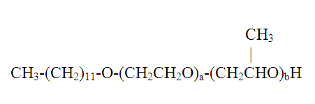 Consider the composition made by adding ethylene oxide and propylene oxide to lauryl alcohol.