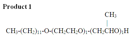 If ethylene oxide (EO) and propylene oxide (PO) were mixed and then added to alcohol, and if a = 1 and b = 1, this is one of two possible products.