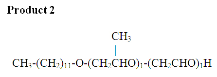 Figure 3. Mixing ehtylene oxide (EO) and propylene oxide (PO), then adding them to alcohol, if a = 1 and b = 1, this figure shows the second of two possible products.